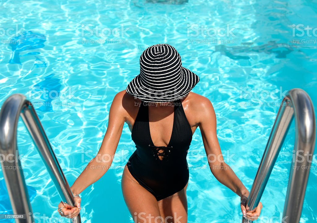 pool woman stock photo