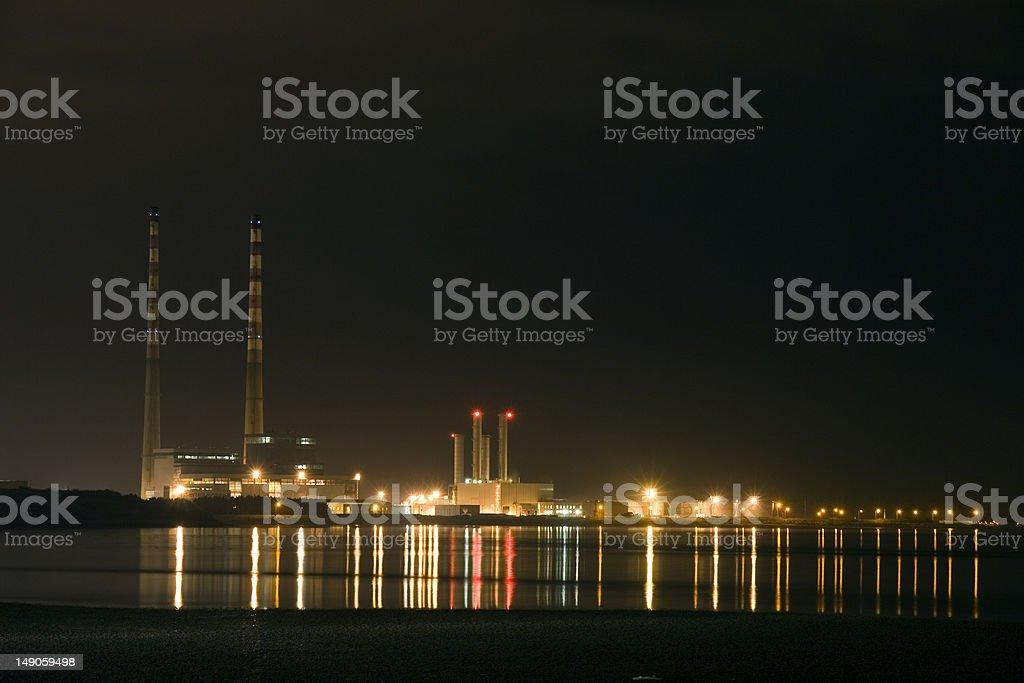 Poolbeg Generating Station at Night stock photo