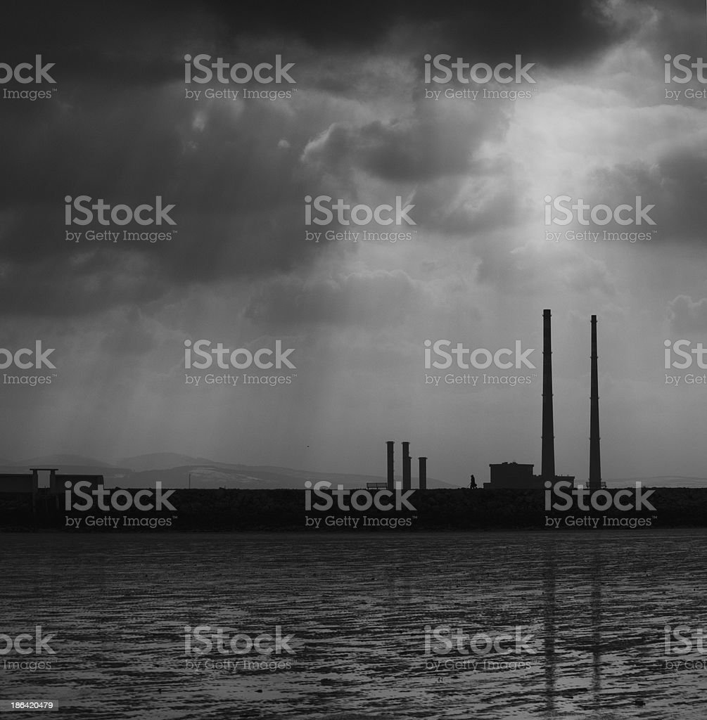 Poolbeg Towers, Ringsend, Dublin stock photo