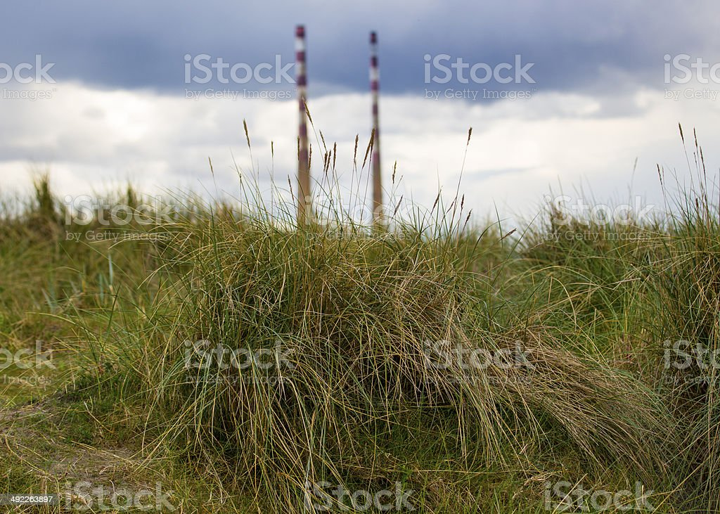 Poolbeg Towers with grass in background stock photo