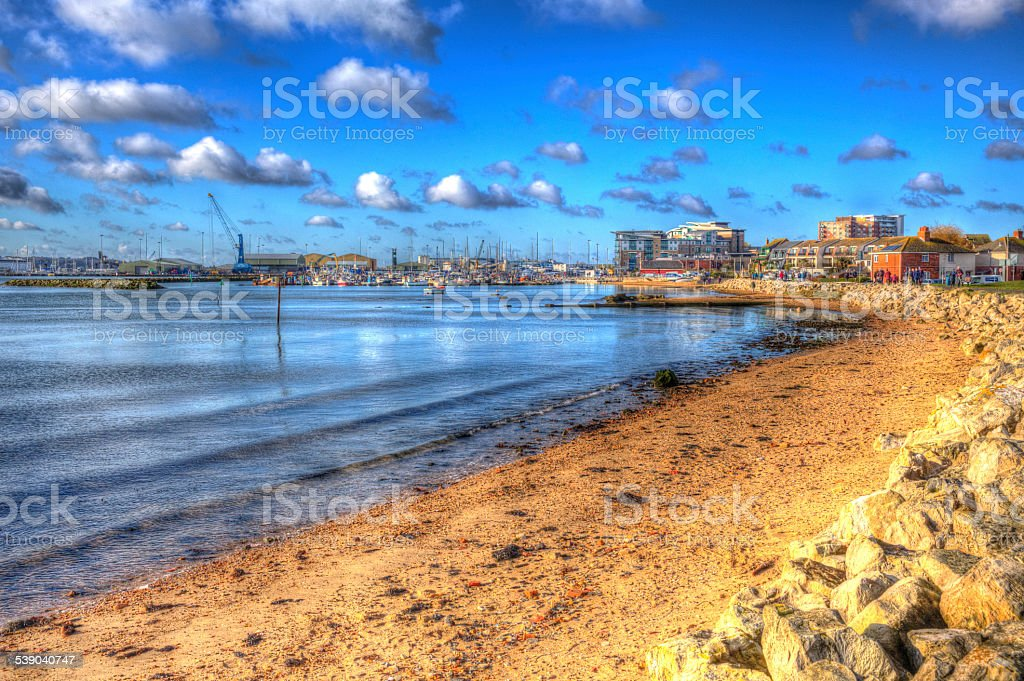 Poole harbour and quay Dorset England UK HDR like painting stock photo
