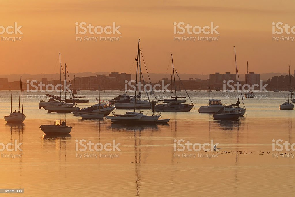 Poole Harbour at Sunset stock photo
