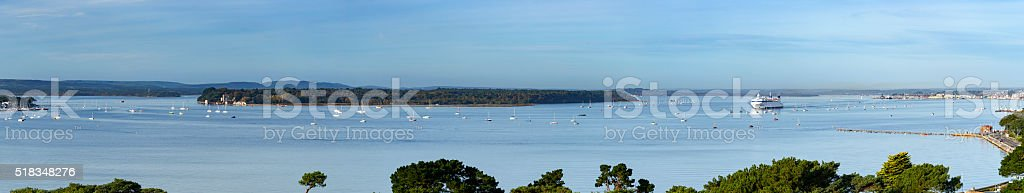 Poole harbour panoramic view stock photo