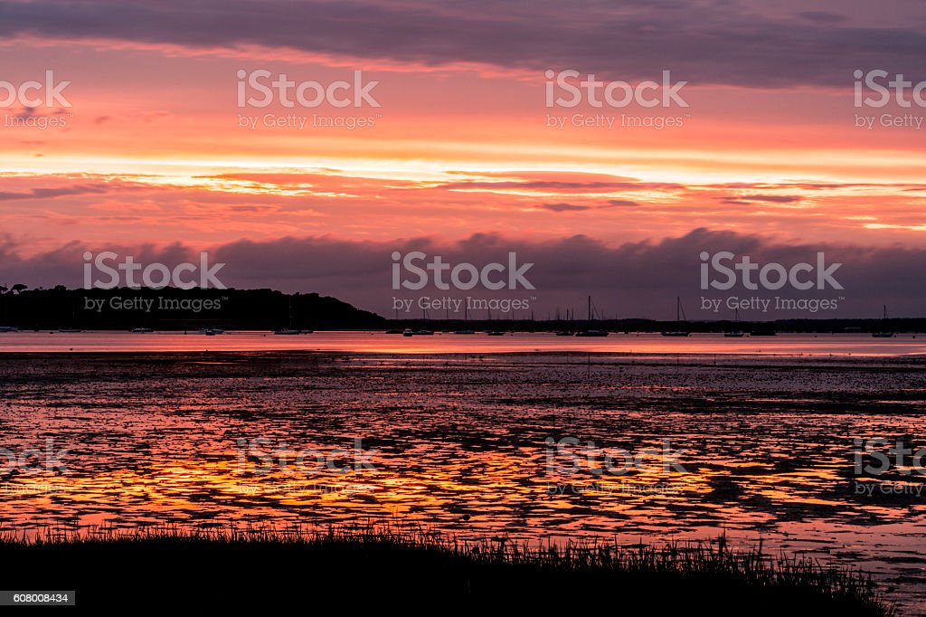 Poole Harbour Sunset, Brownsea Island stock photo