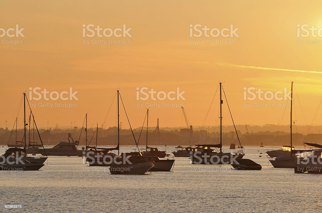 Poole Harbour Sunset stock photo