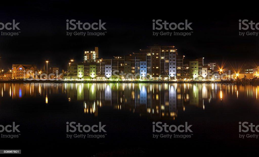 Poole Night Time Skyline stock photo