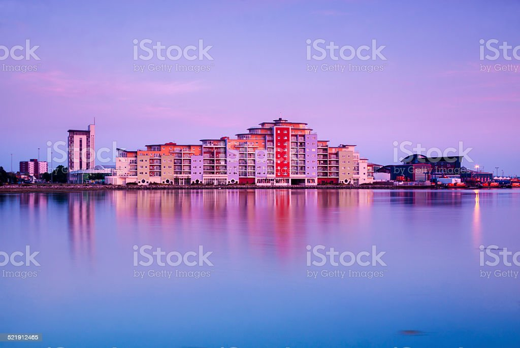 Poole skyline at sunset stock photo