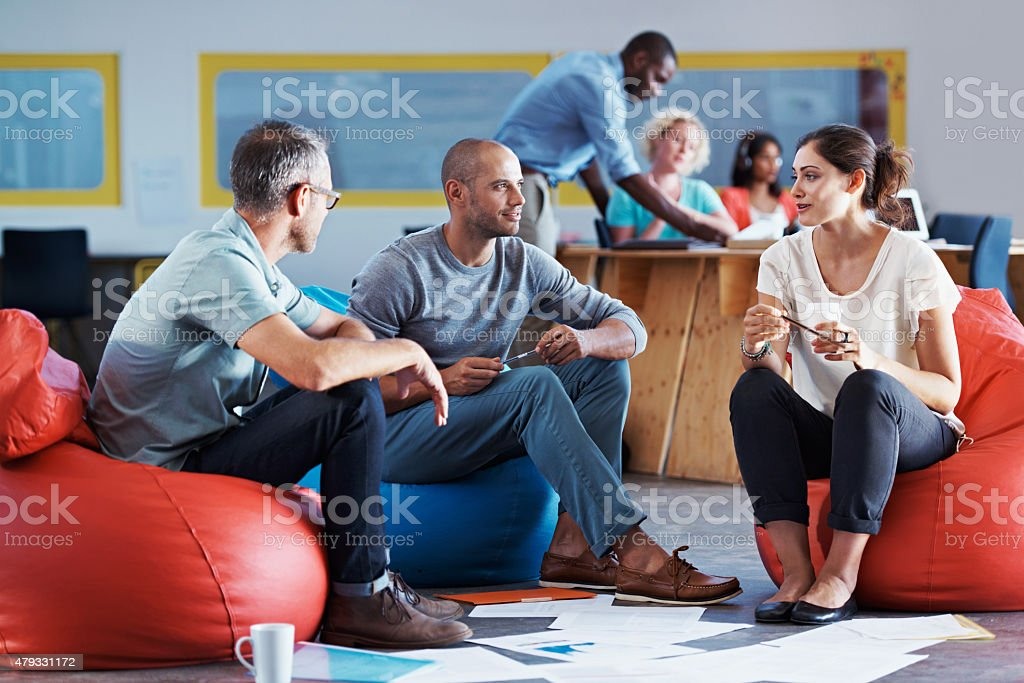 Pooling their ideas stock photo