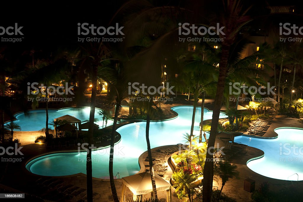 Pools at Tropical Resort, Night royalty-free stock photo