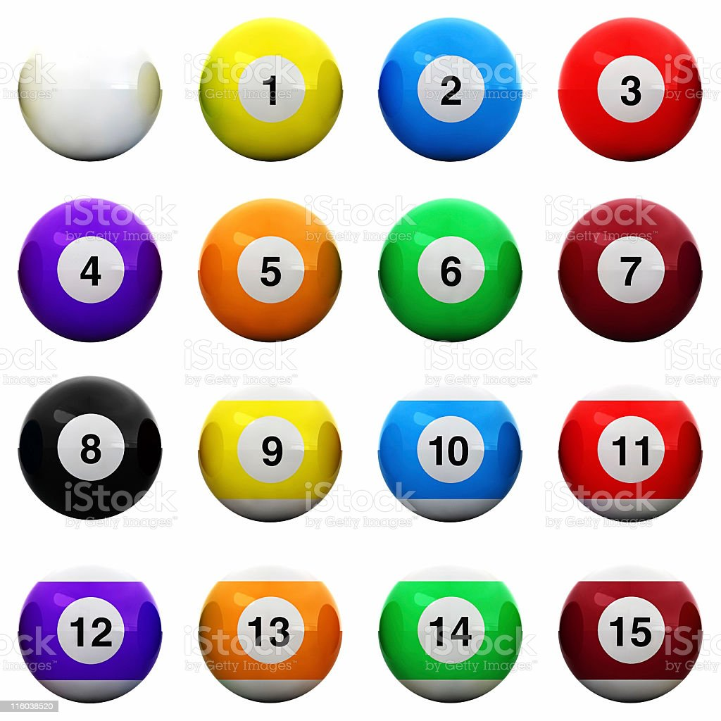 Pools Balls Isolated - Top/Side View stock photo