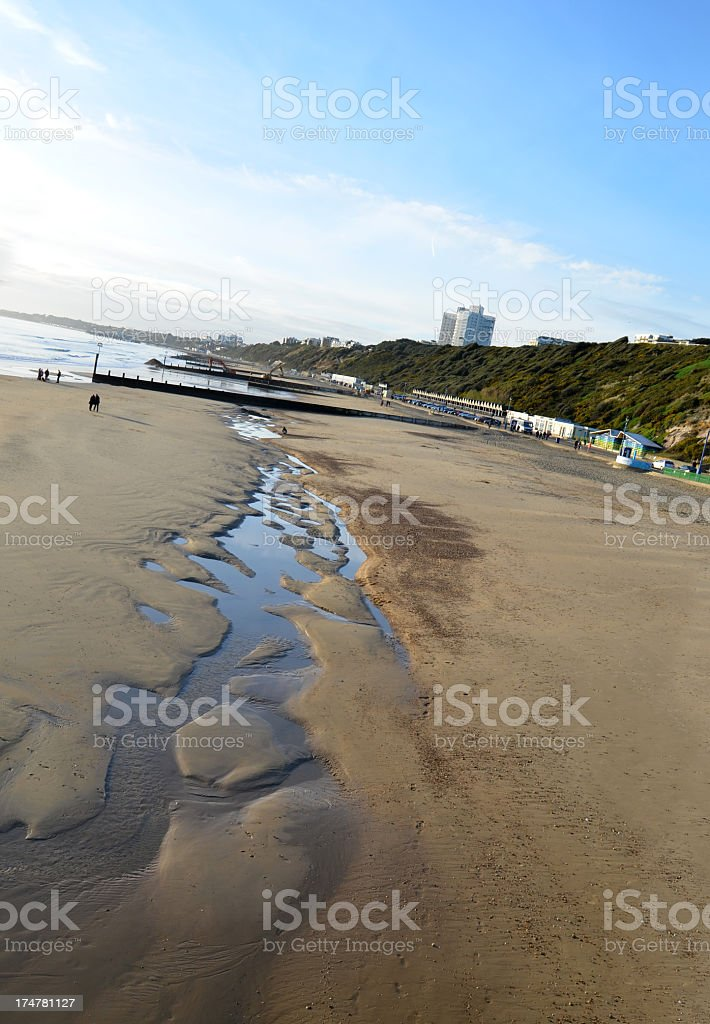 Pools of Water on Bournemouth Beach royalty-free stock photo