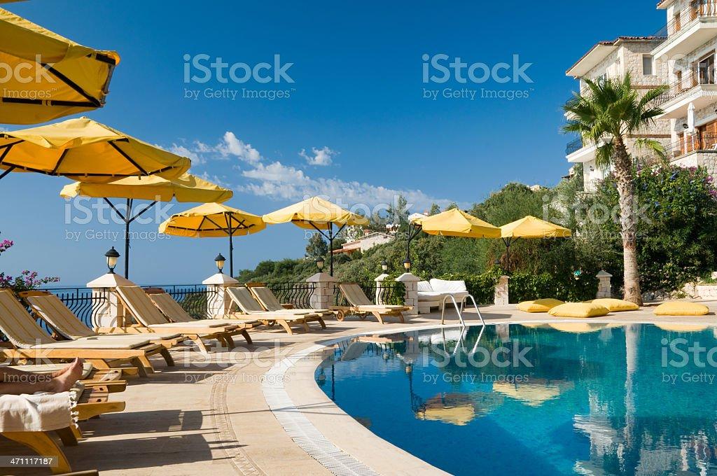 Poolside at a Mediterranean resort royalty-free stock photo