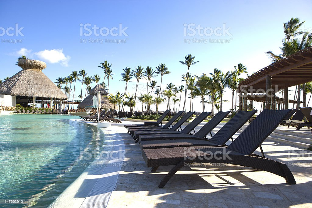 Poolside at Tropical Resort stock photo