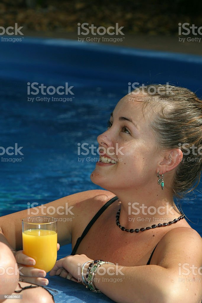 poolside chat royalty-free stock photo