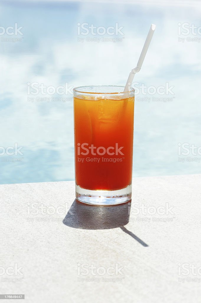 Poolside cocktail stock photo