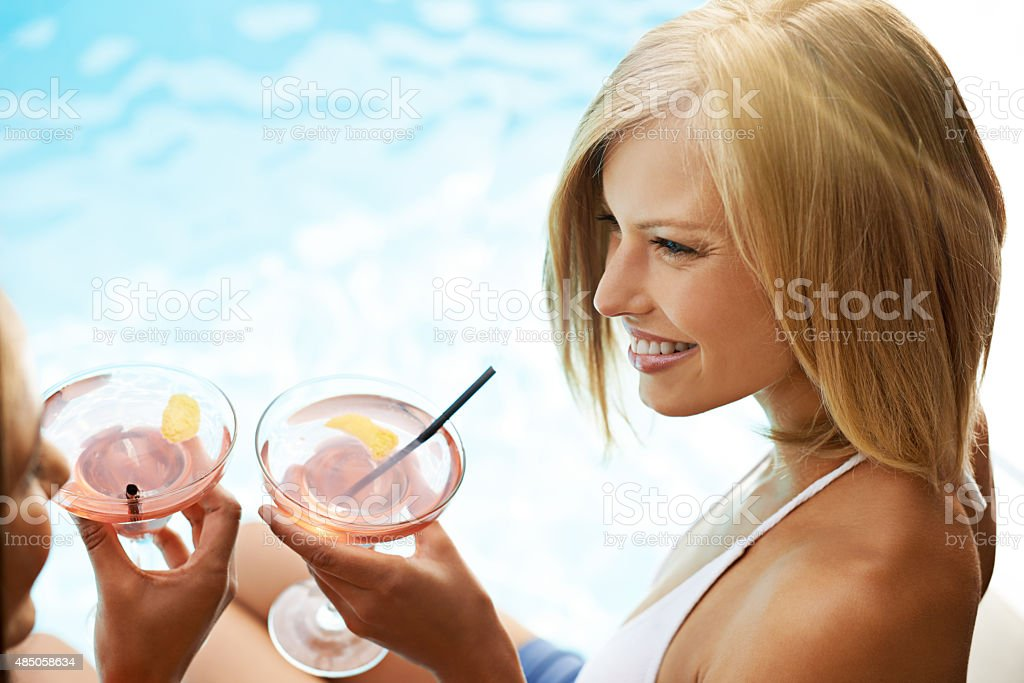 Poolside cocktails stock photo