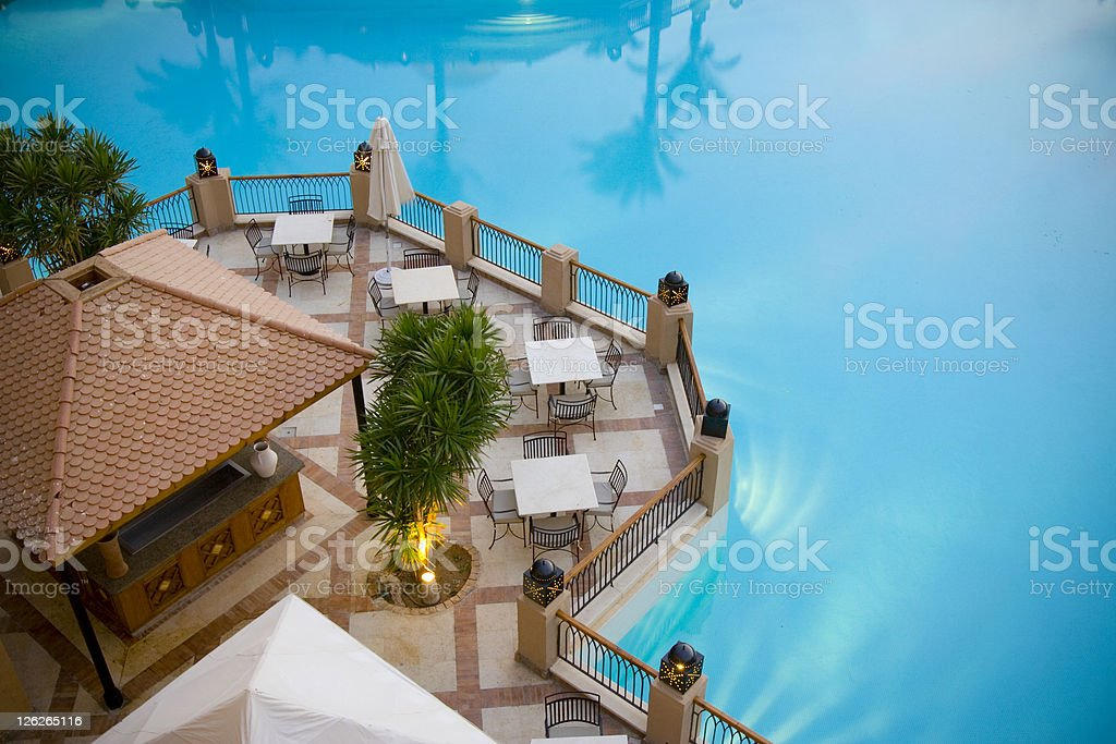 Poolside Dining stock photo
