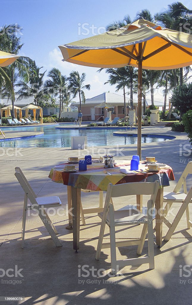 Poolside Dining royalty-free stock photo