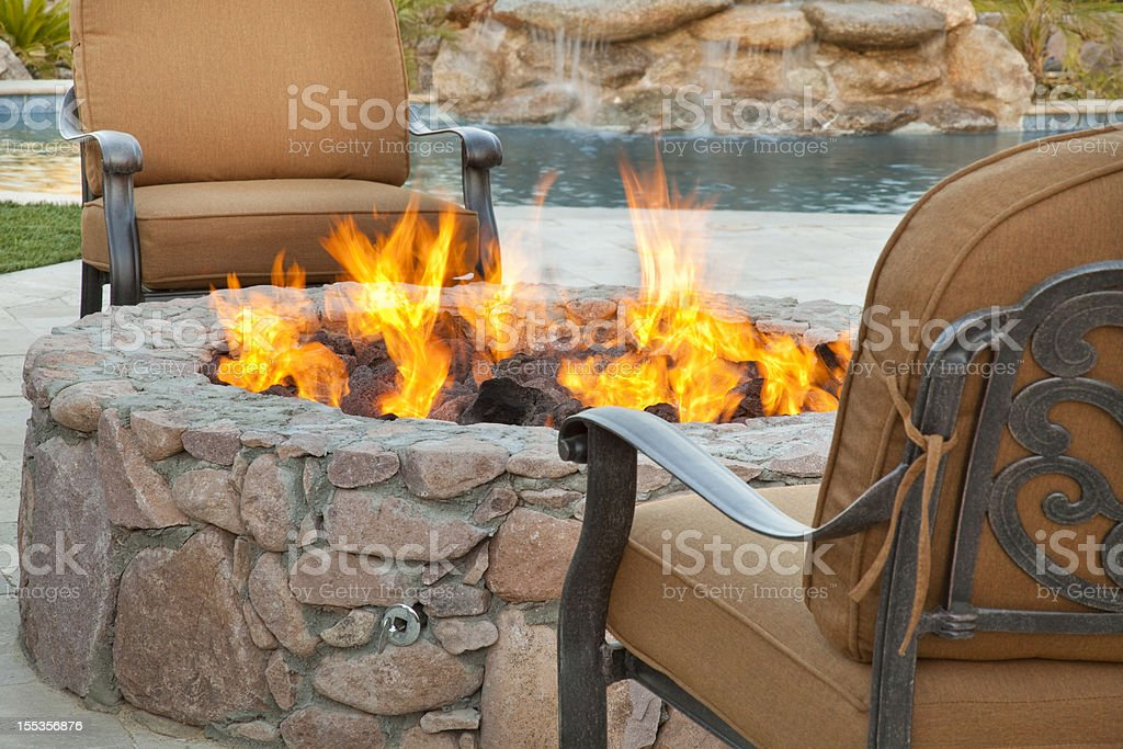 Poolside Fireside Seating royalty-free stock photo