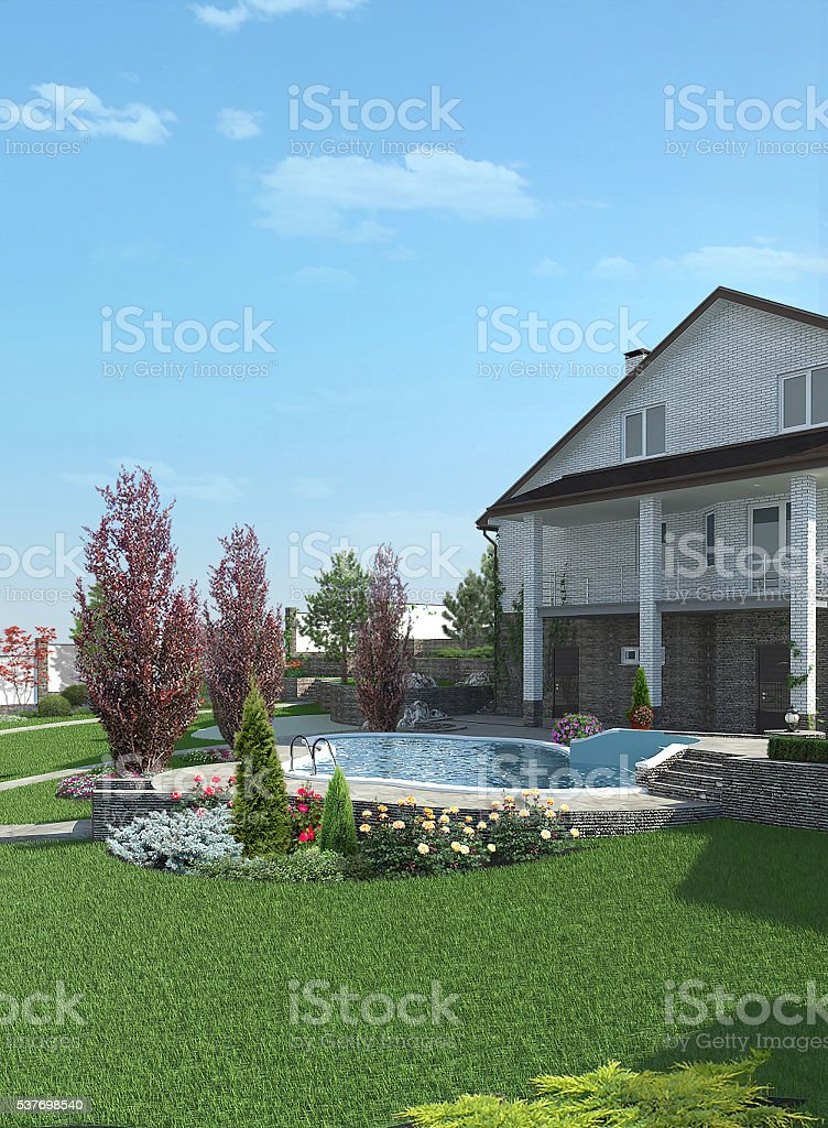 Poolside horticultural background, 3d rendering stock photo