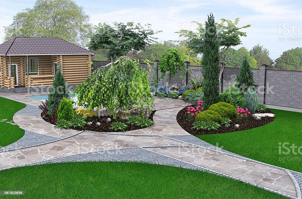 Poolside landscape design, 3d render stock photo