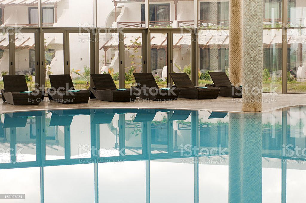Poolside lounge chairs, North Cyprus royalty-free stock photo