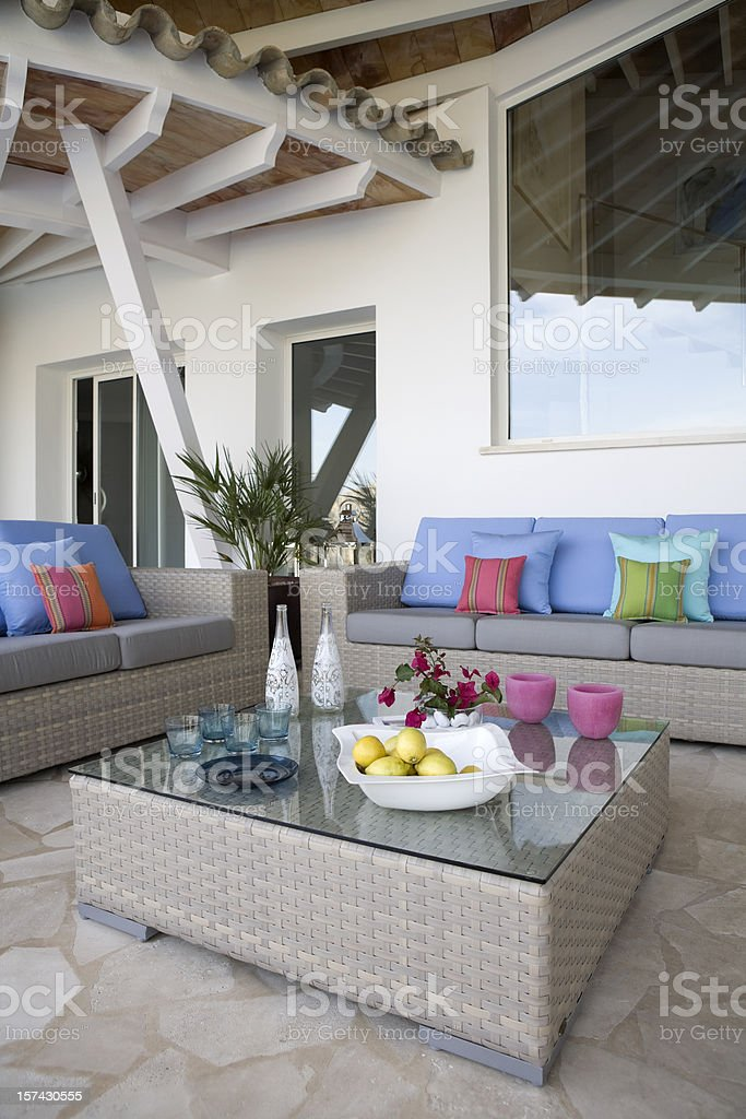 Poolside Luxury Seating royalty-free stock photo