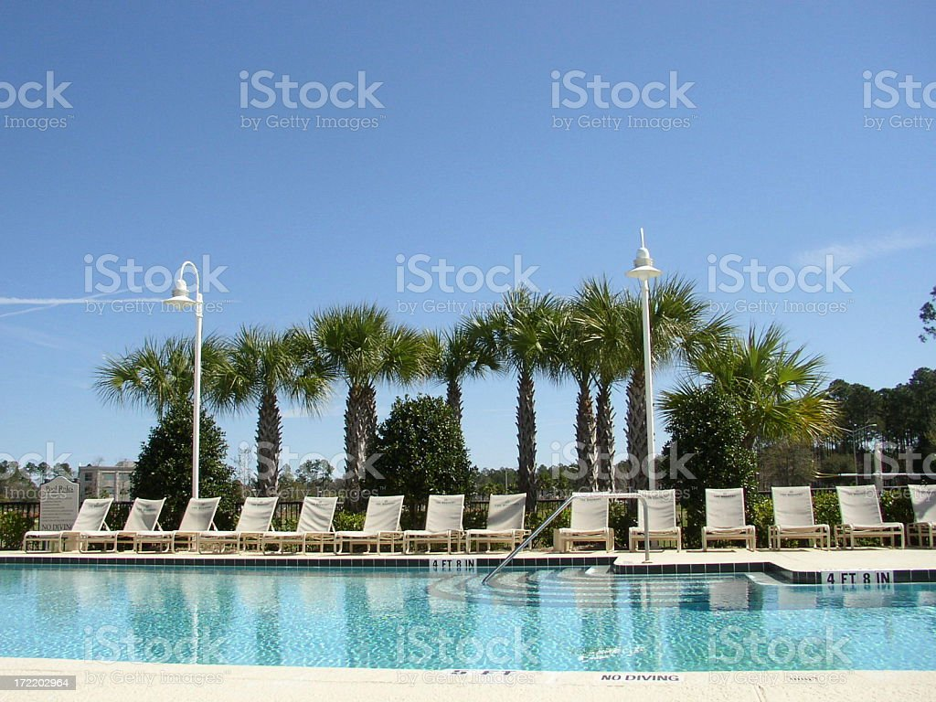 Poolside stock photo