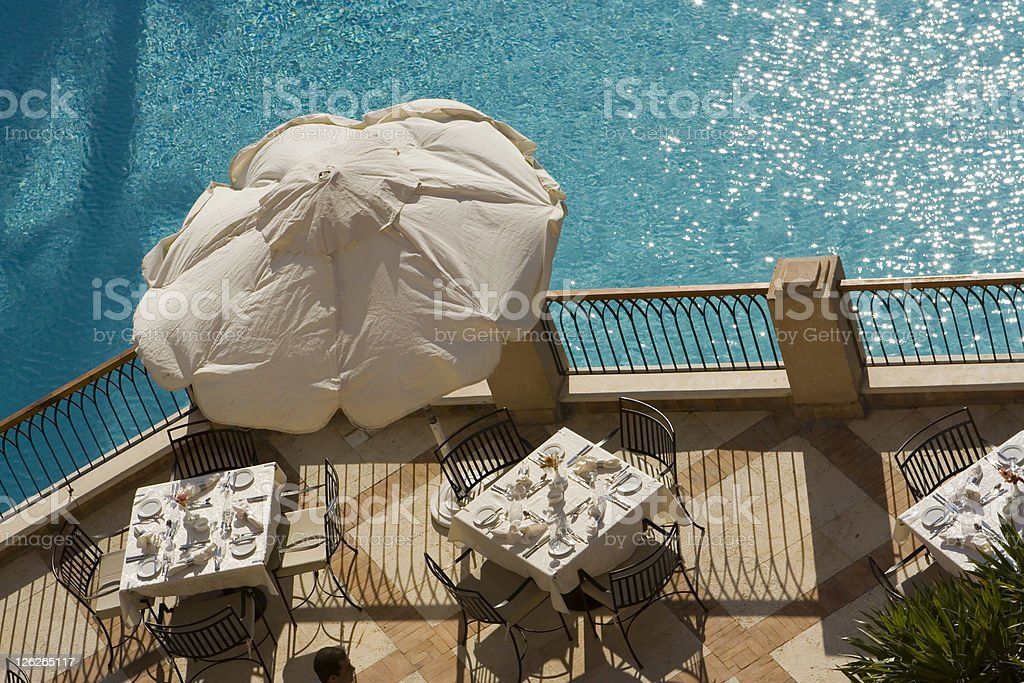 Poolside Tables stock photo