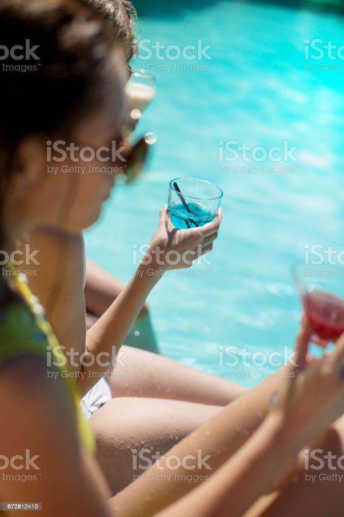 Poolside toast stock photo