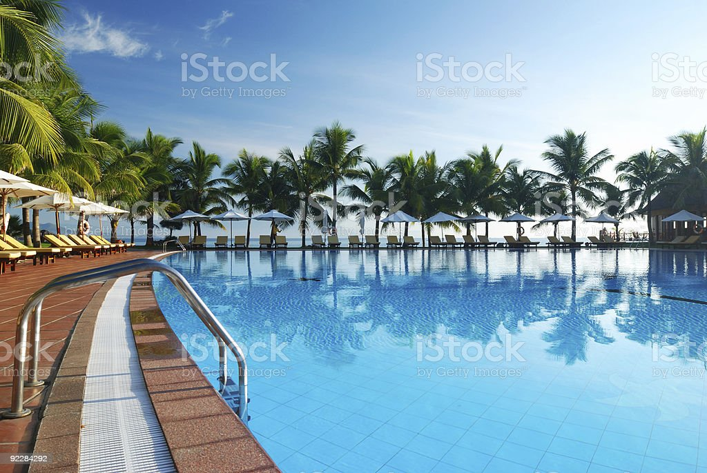 Poolside view of tropical pool surrounded by palm trees stock photo