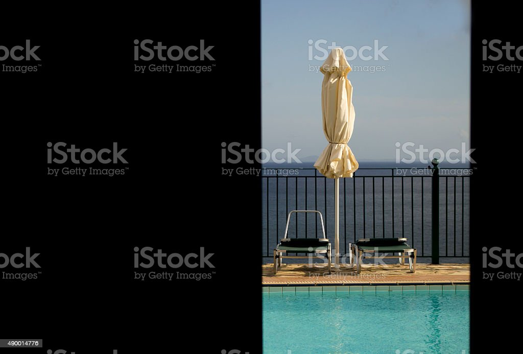 Poolside view stock photo