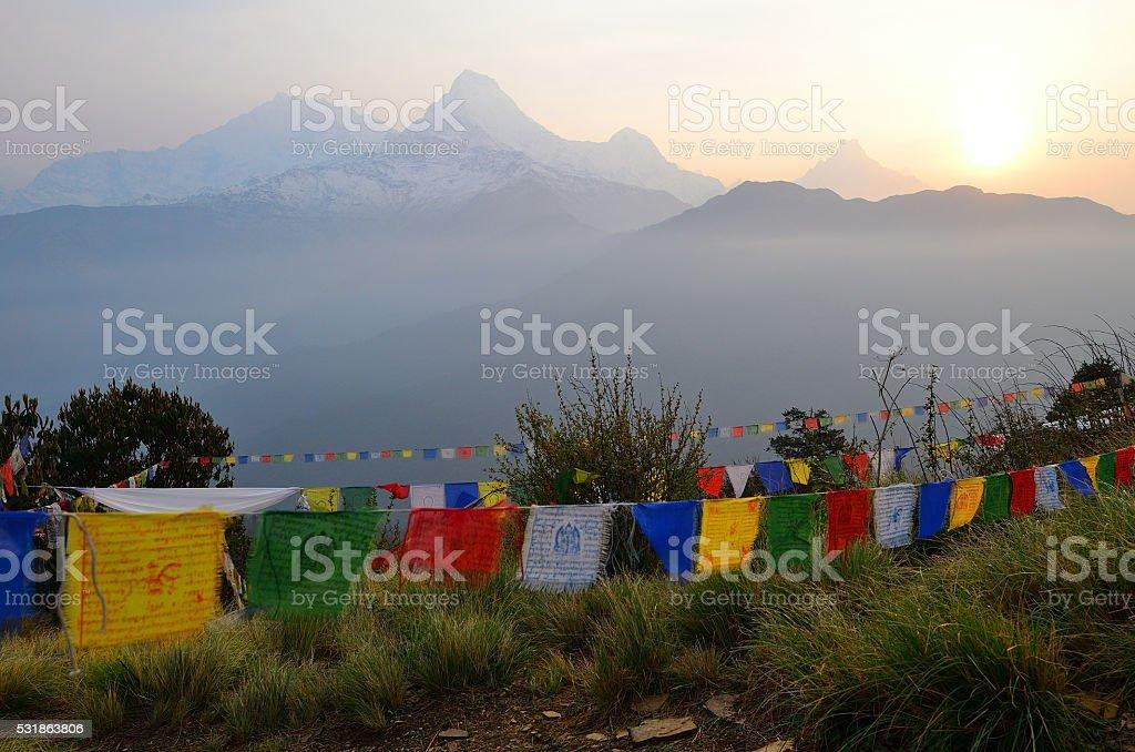 Poon hill view , Himalaya range stock photo