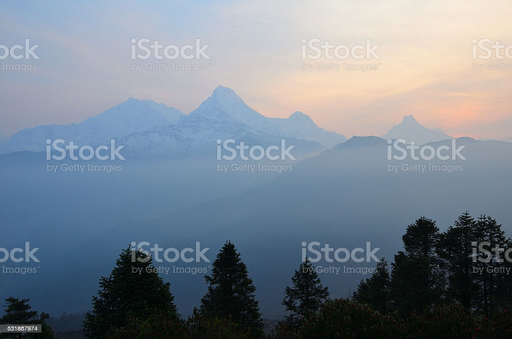 Poon hill view , Himalaya range stock photo
