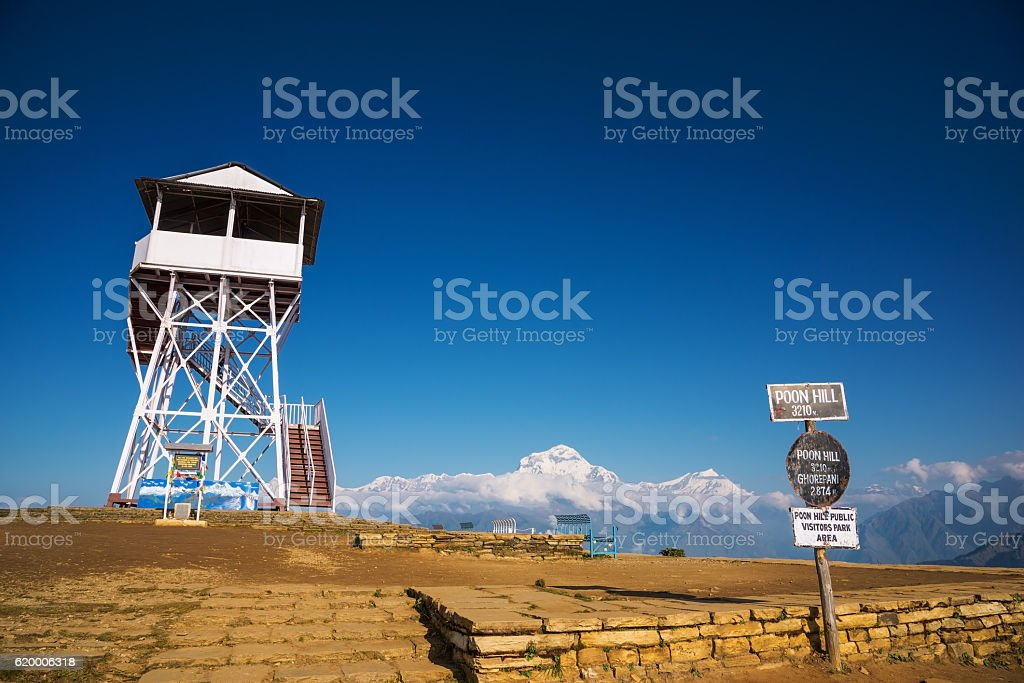 Poon Hill view point with Dhaulagiri peak (8,167m) stock photo