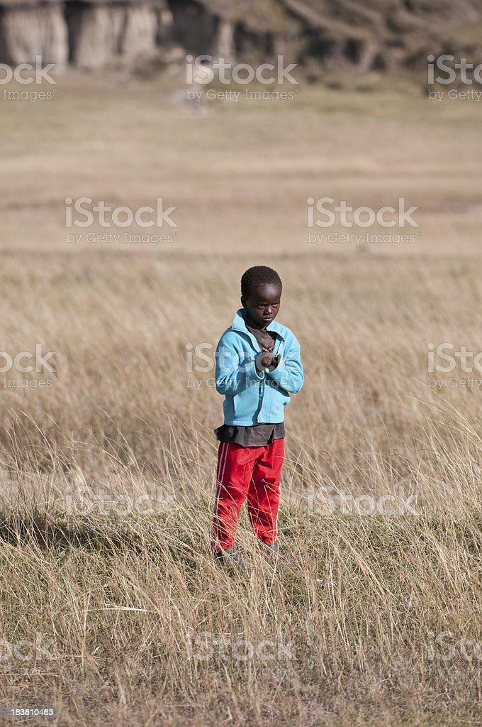 Poor African boy stock photo