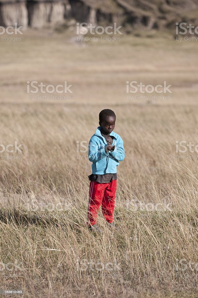 Poor African boy stock photo