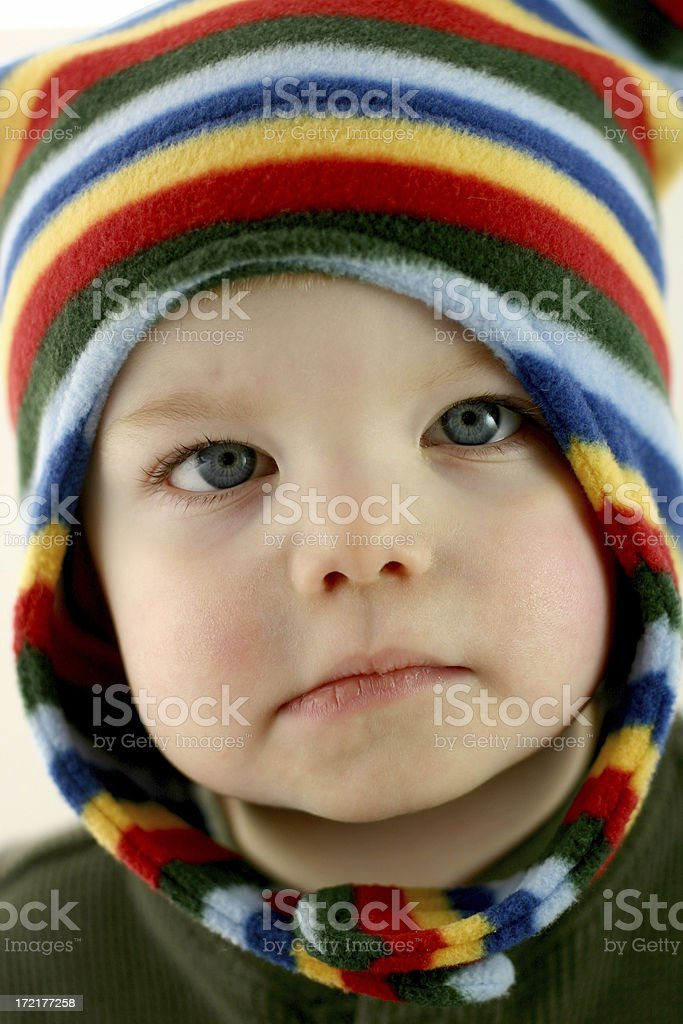 Poor Baby Series: Frowning. stock photo