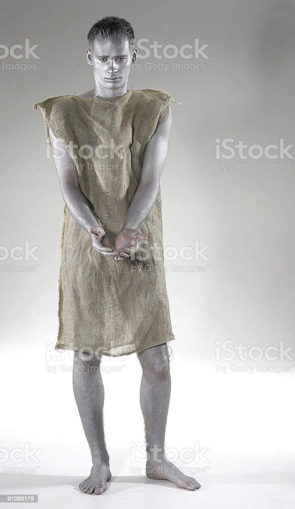poor begging young man stock photo