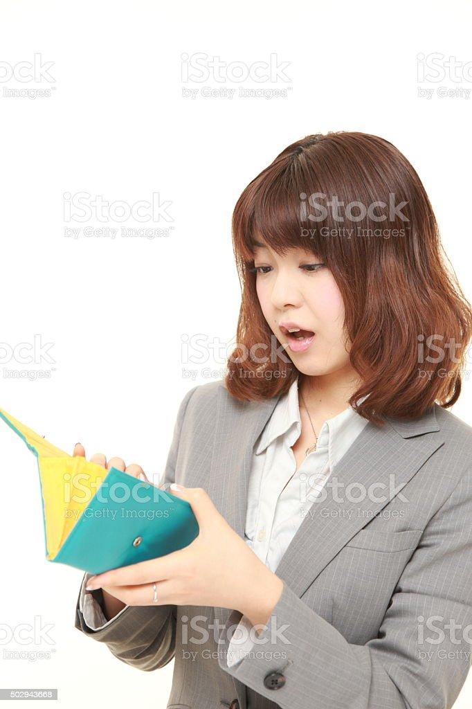 poor businesswoman stock photo