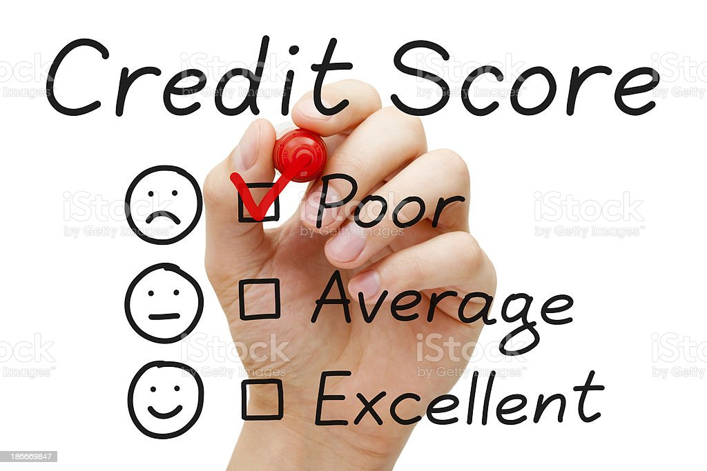 Poor credit score check box stock photo