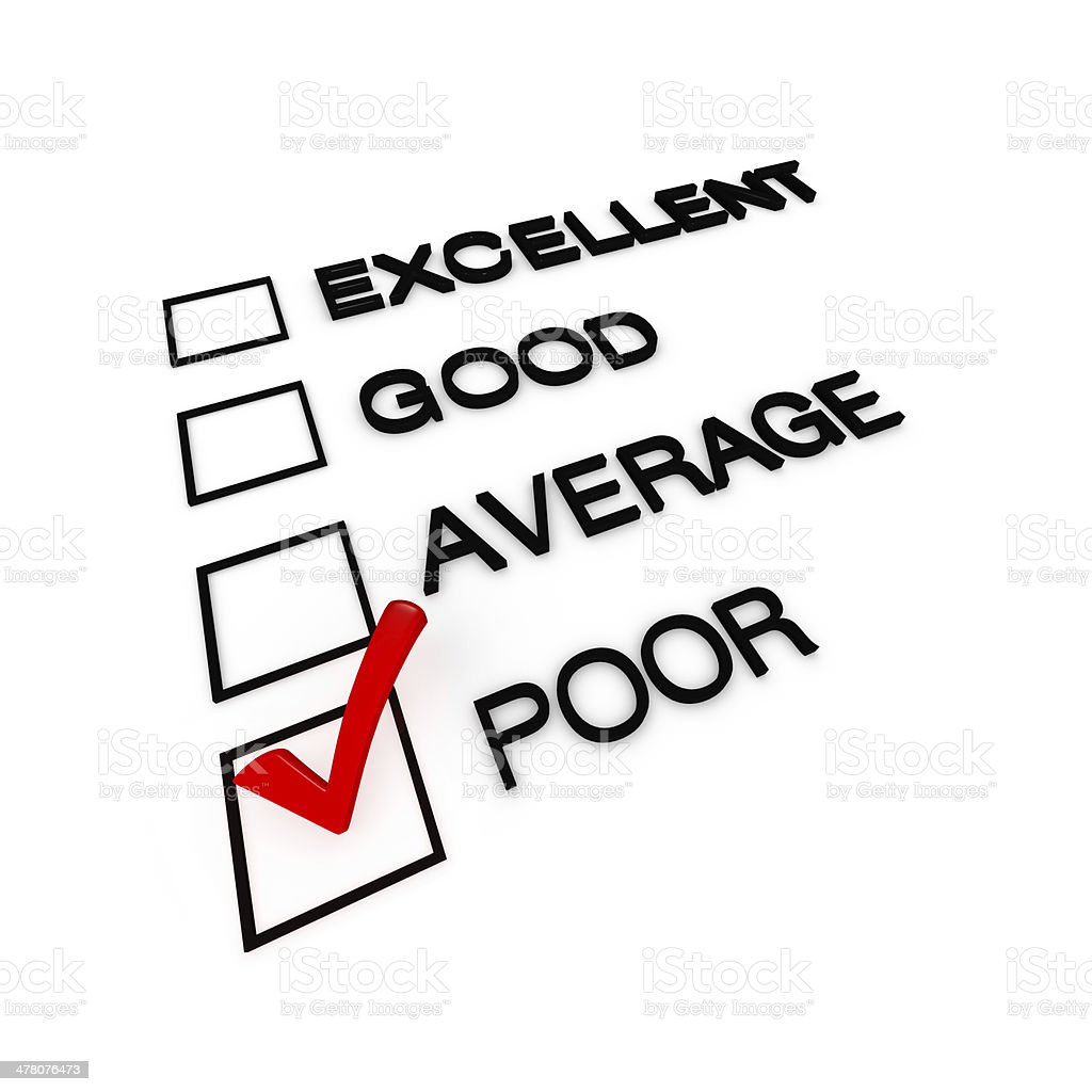 Poor Customer Service Evaluation Form stock photo