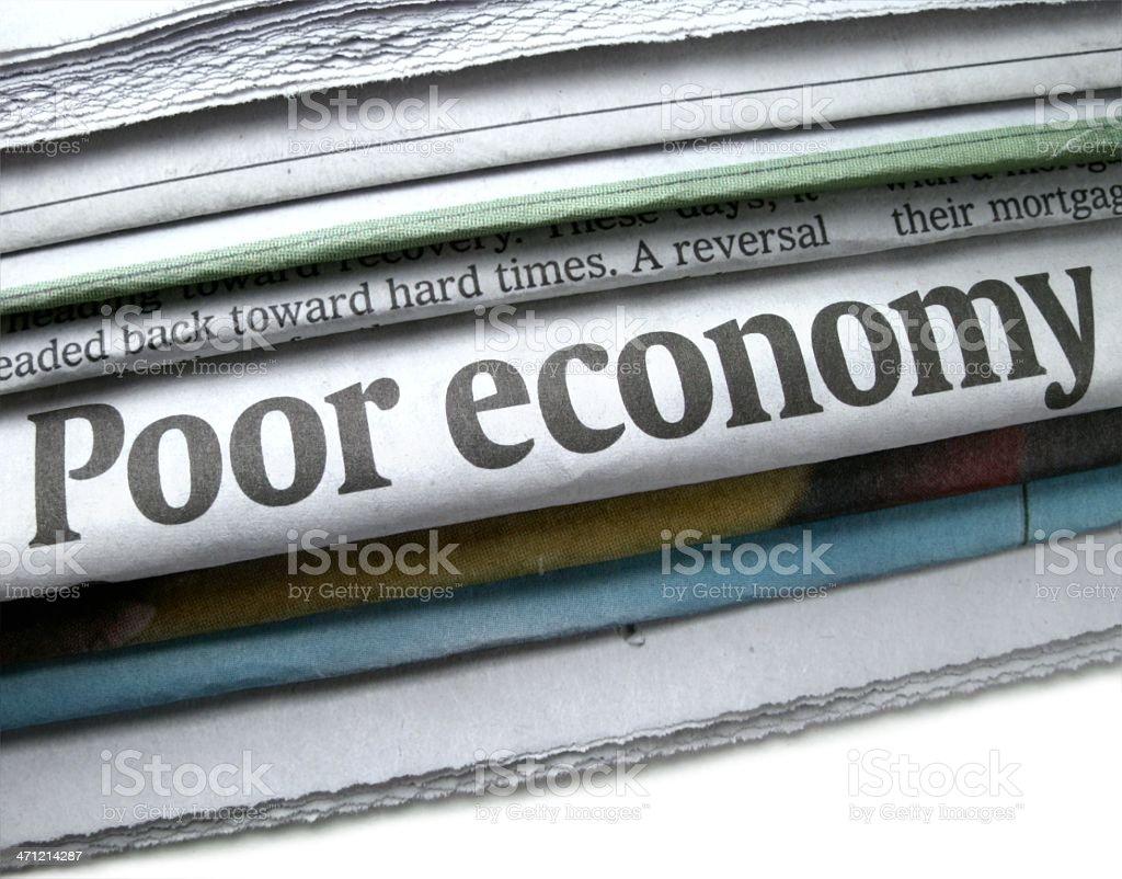 Poor Economy Newspaper Headline stock photo