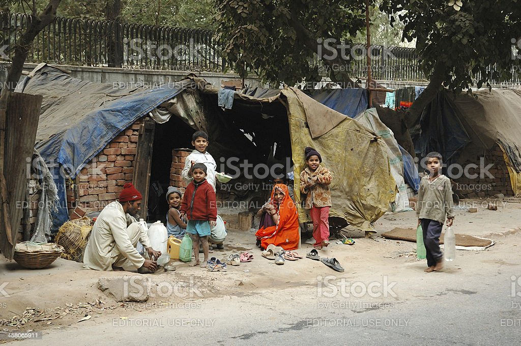 Poor family at slum area stock photo