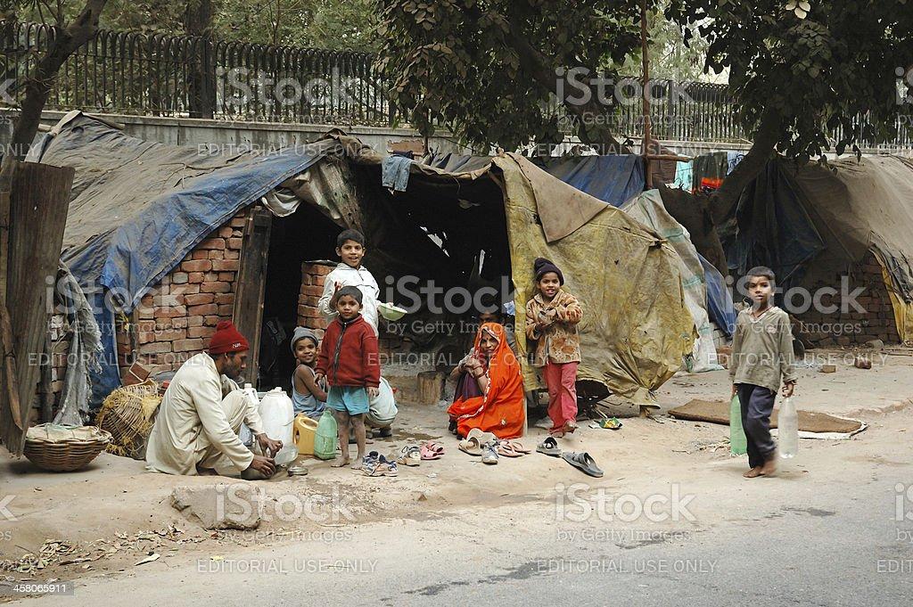 Poor family at slum area stock photo