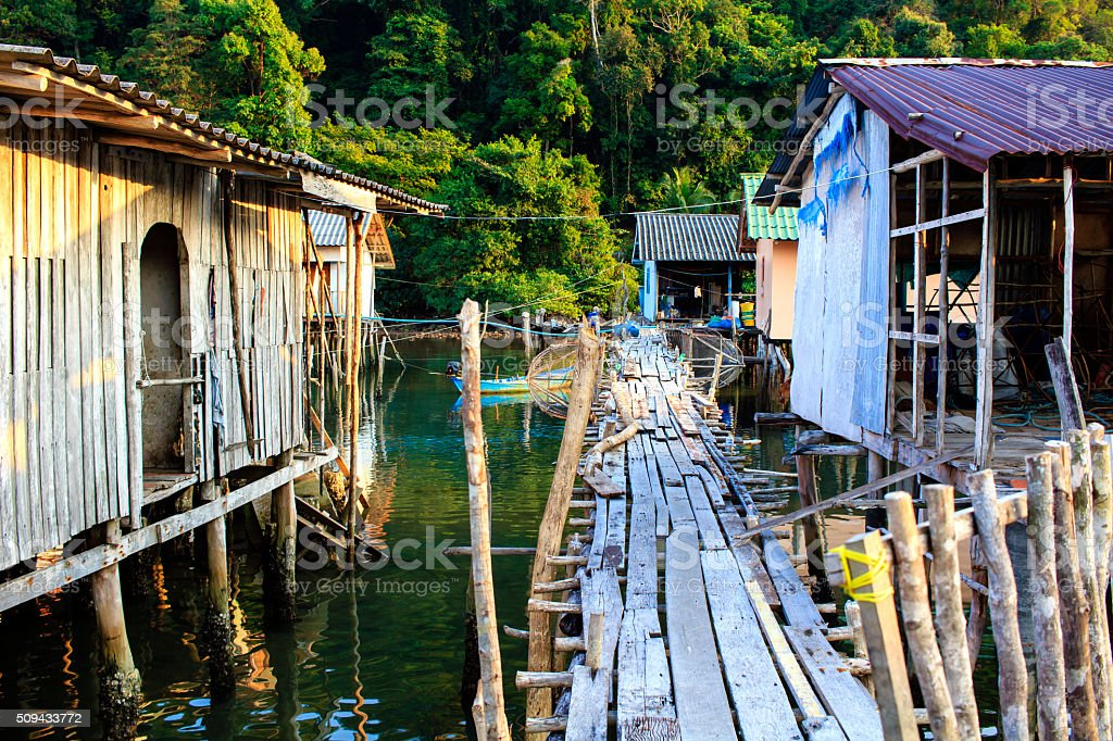 Poor fishing village in Thailand stock photo