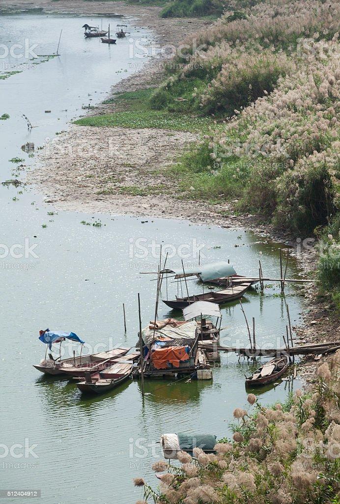 Poor floating village, slumdog stock photo