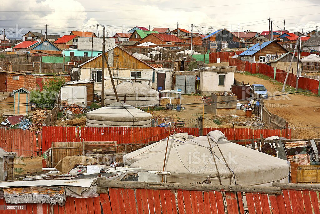 Poor households in outskirts of Ulaanbaatar, Mongolia's Capital stock photo