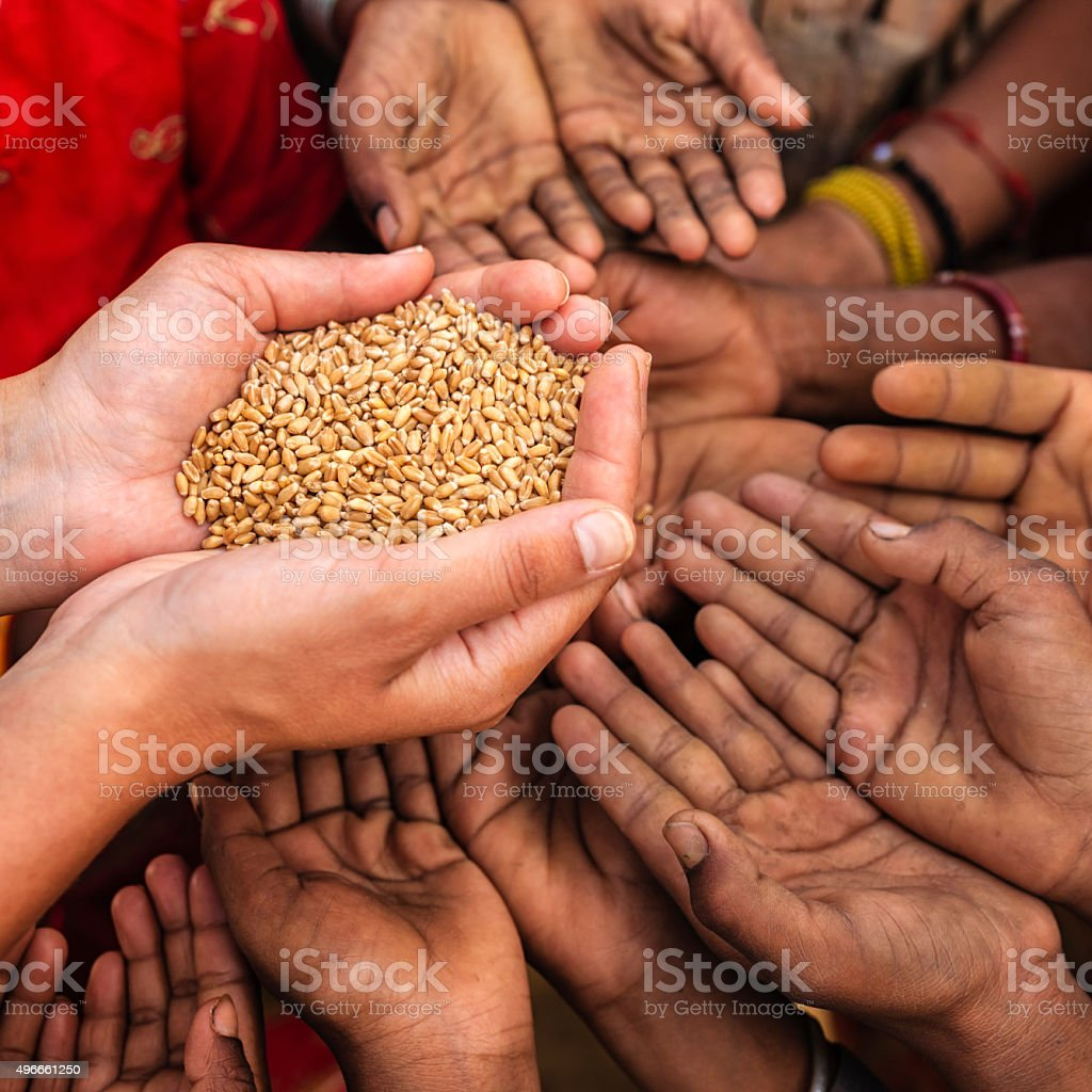 Poor Indian children asking for food, India stock photo