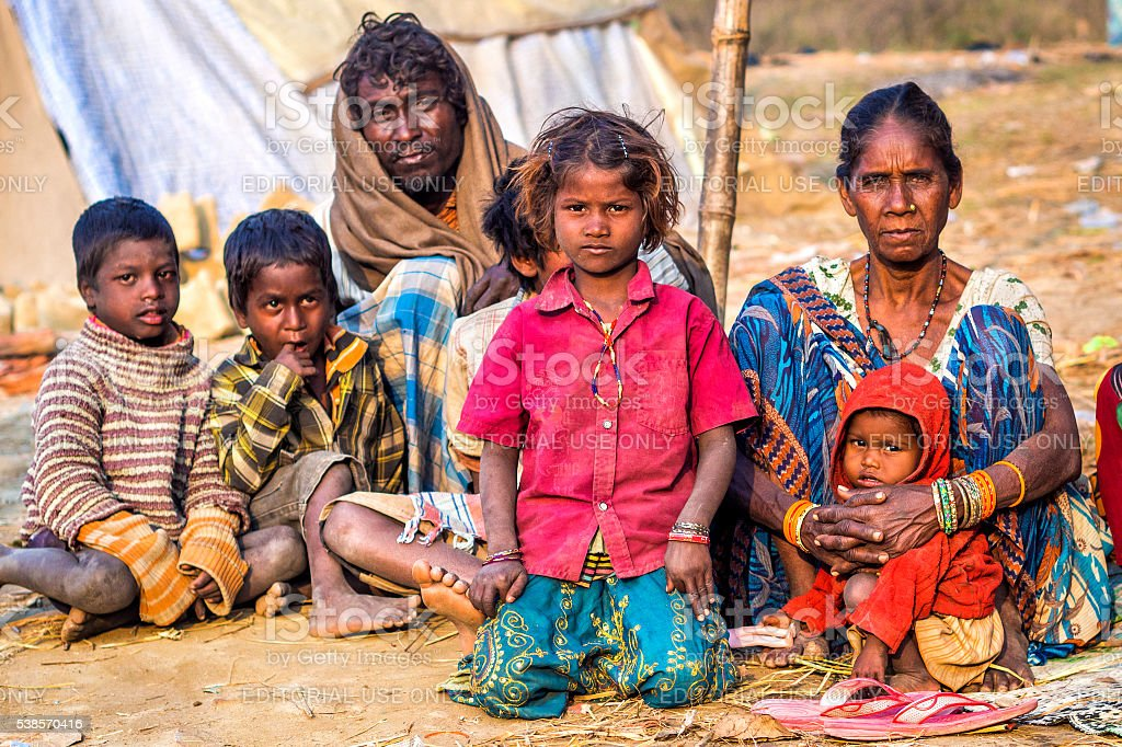 Poor Indian Family on the Street in Allahabad, India stock photo